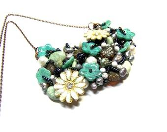 Turquoise Bib Pendant Necklace, Floral Beaded Aqua Leaf Bib Necklace