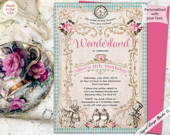 alice in wonderland party invites, mad hatter tea party invites, mad hatter party invites, alice birthday invites, alice in wonderland party