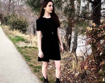 90s Vintage Black Velvet Dress