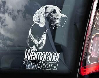 Weimaraner on Board - Car Window Sticker - Vorstehhund Dog Sign Decal - V04