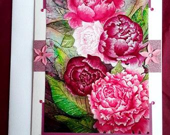 Pink Peonies blank card