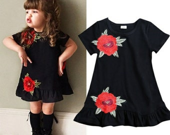 Black 3D Rose Dress