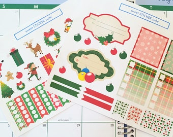 53 Christmas Planner Stickers- Christmas Themed Sticker Set- perfect in your Erin Condren planner, Plum Paper, wall calendar or scrapbook