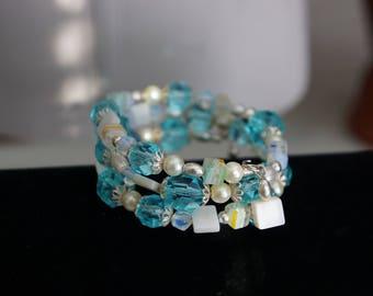 Lemon Drop: memory wrap loaded with aquamrine beads and melifiore lemon/blue cubes
