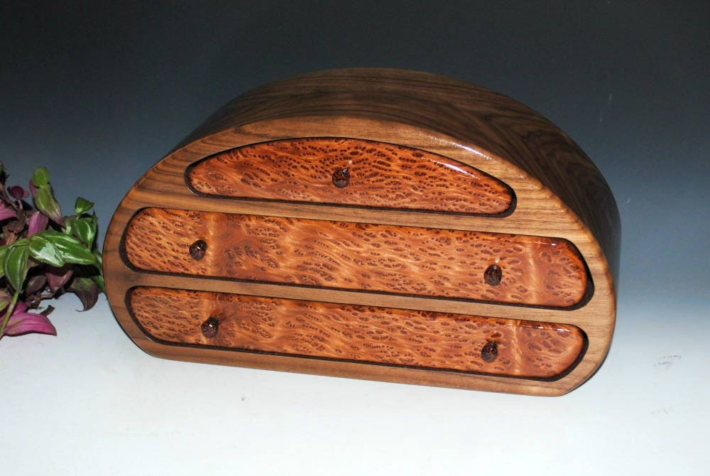 Wooden jewelry box wood jewelry box walnut redwood for Jewelry engraving gainesville fl