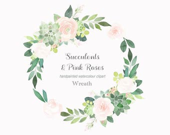 Succulents Wreath, Floral Clip Art, Pink Rose Clipart, Wedding Wreath, Green & Pink Flower Clipart, Watercolour Hand Painted, Wreath PNG