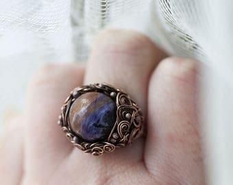 Charoite Ring, Bohemian Purple Charoite Ring, Charoite Jewelry, Rustic Gemstone Ring, Charoite Ring
