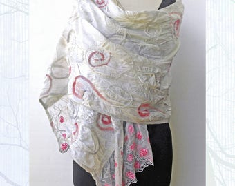 Pink and Gray Special Occasion Shoulder Wrap - Silk Stole - Silk and Wool Shoulder Coverup