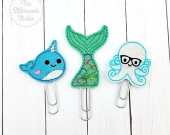 Sea Life Planner Clip Set - Narwhal - Octopus - Mermaid - Glitter - Paperclip - Bookmark - Set of 3