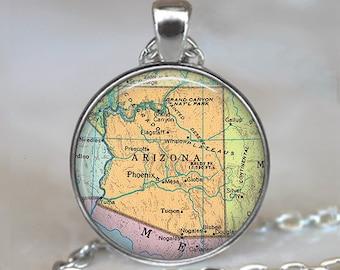 Arizona map necklace, Arizona map pendant, map jewelry, Arizona state map, Arizona pendant, Arizona necklace key chain key ring key fob