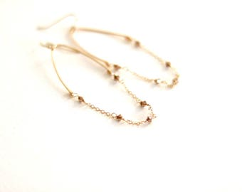 Glide earrings rose gold, Modern mixed metal hoops, As seen on Fuller House, rose gold earrings, Hammered Gold, VitrineDesigns under 60