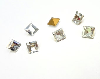 8 Pieces Crystal Swarovski Square Stones, Article #4400, Vintage, 10mm Square Pointed Back