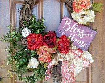 Wreath front door Wreath grapevine floral