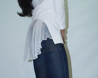 White Jacket/Handmade Jacket/Summer Coat/Spring Summer Blazer/Blazer with Chiffon Back/F1116