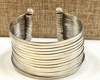 Vintage 925  Mexico Solid Sterling Silver Cuff Bracelet!!!  Free US Shipping!!!
