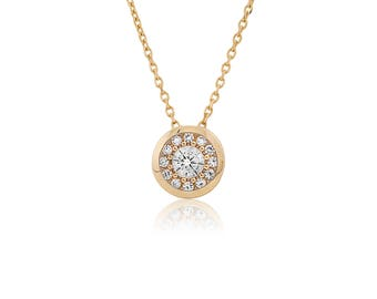 14k Solid Yellow Gold Cubic Zirconia Pave Bezel Pendant With Chain 0.30TCW