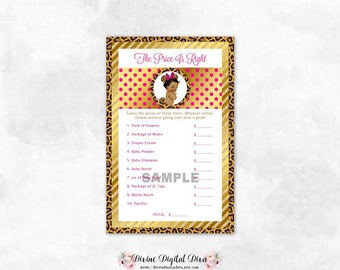 Price Is Right Leopard Hot Pink Gold Mouse Ears | Baby Shower Game | African American Baby Girl | Digital Instant Download