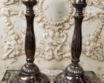 Neiman Marcus silver plated candlesticks