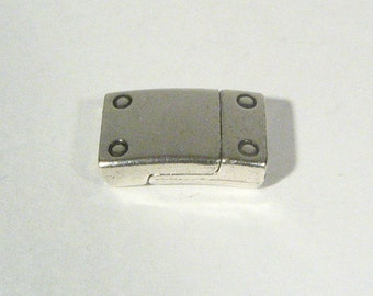 Rivet Detail 10mm Flat Leather Clasps - Antique Silver - 10FCL-B10-AS - Choose Your Quantity