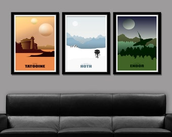 Force Inspired - Star Wars Inspirited - Minimalist Poster Set - Movie Poster - Home Decor
