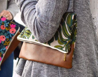 Monstera Fold Over Leather Clutch
