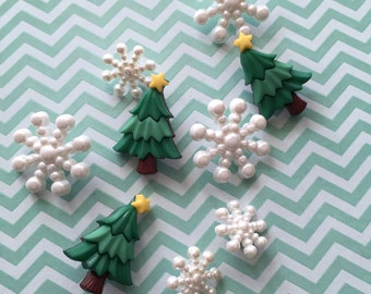 """Christmas Trees and Snowflakes, Packaged Buttons by Buttons Galore, Style #4780, """"Christmas Sparkle"""", Sewing, Crafting Embellishments"""