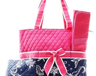 Preppy Mermaid Diaper Bag WITH Monogram option