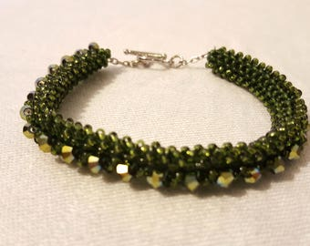 Cubic Right Angle Weave Green Glass Beaded Bead Stitched Bracelet