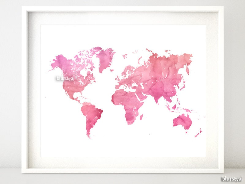 Printable Watercolor World Map Pink World Map Print Shades - Pink world map poster