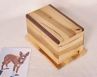 Holly Wood Pet Urn - dog - cat - rabbit - for ashes - handmade - cremation - pet memorial - rectangular - made in USA - HBP81