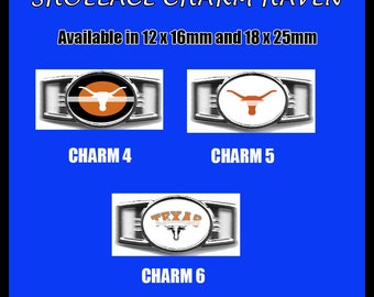 TEXAS LONGHORNS Shoelace Charm  Paracord Bracelet Charm Oval Charm 12 x 16mm or 18 x 25mm Charms