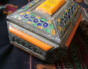 Antique Berber Jewelry Box with Amber Resin and Tagmoute Enamel inlay from Morocco