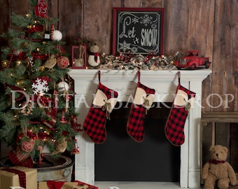 Instant Download DIGITAL BACKDROP for Photographers- Cozy Cabin Christmas