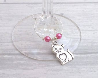 Cat wine charms set of 6 / wine glass charms / cat birthday gift / cat lover gift / cat charms / crazy cat lady / cat party gift / vet gift