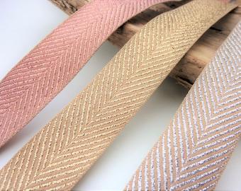 Metallic ribbon trim, rose gold, gold, silver herringbone ribbon, glitter ribbon, rustic wedding ribbon, Berisfords ribbon trim