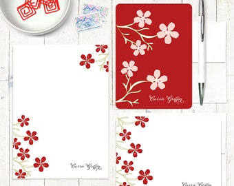 complete personalized stationery set - CHEERY CHERRY BLOSSOMS - personalized stationary - note cards - notepad - choose color