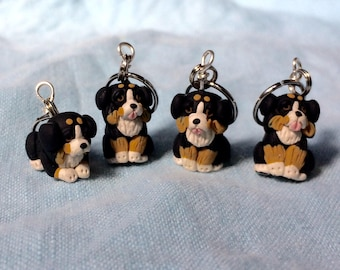 Bernese Mountain Dog Stitch Markers Miniature Polymer Clay Sculpted Animal Knit Crochet Charms Accessories set of 4
