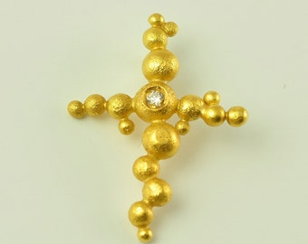 22K Solid Gold, Handcrafted Cross with Diamond, No. 074-31