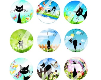 60 digital images for cat with green cabochons (25, 18 x 25, 20, 13x18mm)