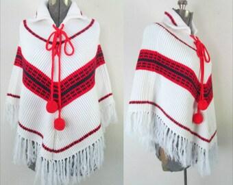 Fringed Knit Poncho Collar Fringe Pom Pom Ties / Vintage Mid Century 1960s 1970s Boho Hippie