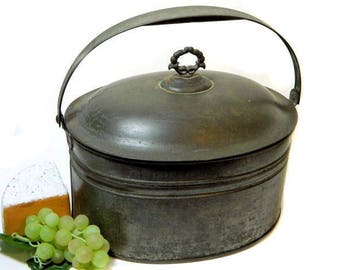 Large Antique Tin Lunch Pail Berry Pail