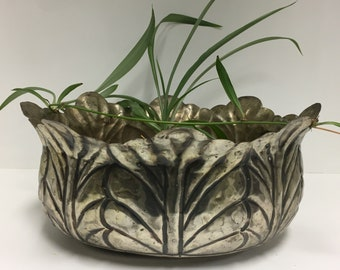 Vintage Solid Brass Drcorative Plant Holder Catchall Bowl Container
