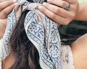 Cotton Bandana Scarf Hand Block Indian Boho Bohemian Printed Green Pink Blue Hair Bandana Square Neck Head Scarf Coachella California Cali