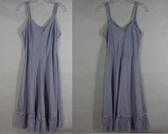 Vintage 40s Periwinkle Blue Taffeta Slip Fit and Flare Ruffled Hem Side Zipper