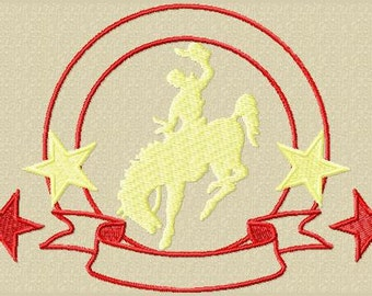 Rebel Rider saddle bronc embroidery machine design rodeo western  5.2 x 3.5