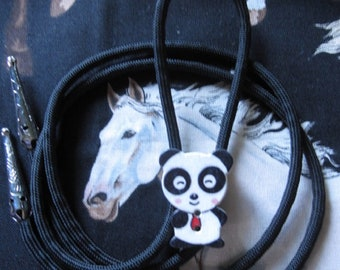 BOLO TIE ~ Kids Bolo Tie ~ Custom Size Bolo Ties ~ Bolo Ties for Children ~ Panda Bear Bolo Tie ~ Panda Bolo Tie ~ Hand Crafted Bolo ~ Cute
