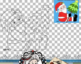 Santa with Christmas tree Digital Stamp Digi Instant Download ID:NV-DS0054 By Nana Vic