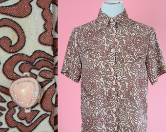 Retro, Mid Century Blouse // Brown, Pink, Button Up, Bowling Shirt, Women Size Small, Medium