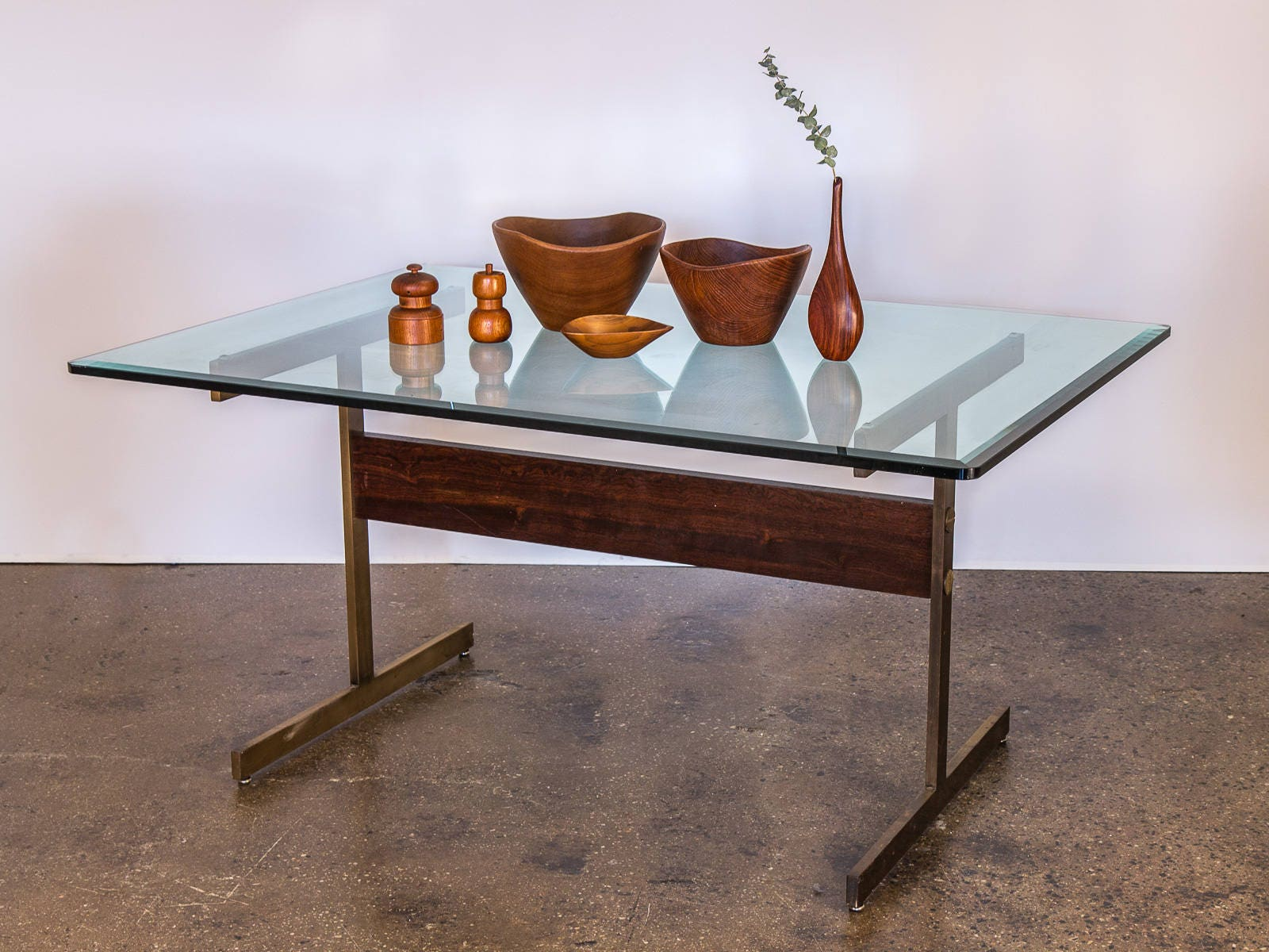 Milo Baughman Verre Table Sur Socle En Laiton Avec Poutre De # Table Palissandre Poutre