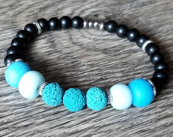 Blue and Black Essential Oil Diffusing Bracelet